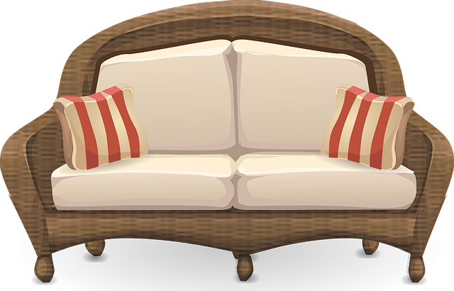proutěný gauč